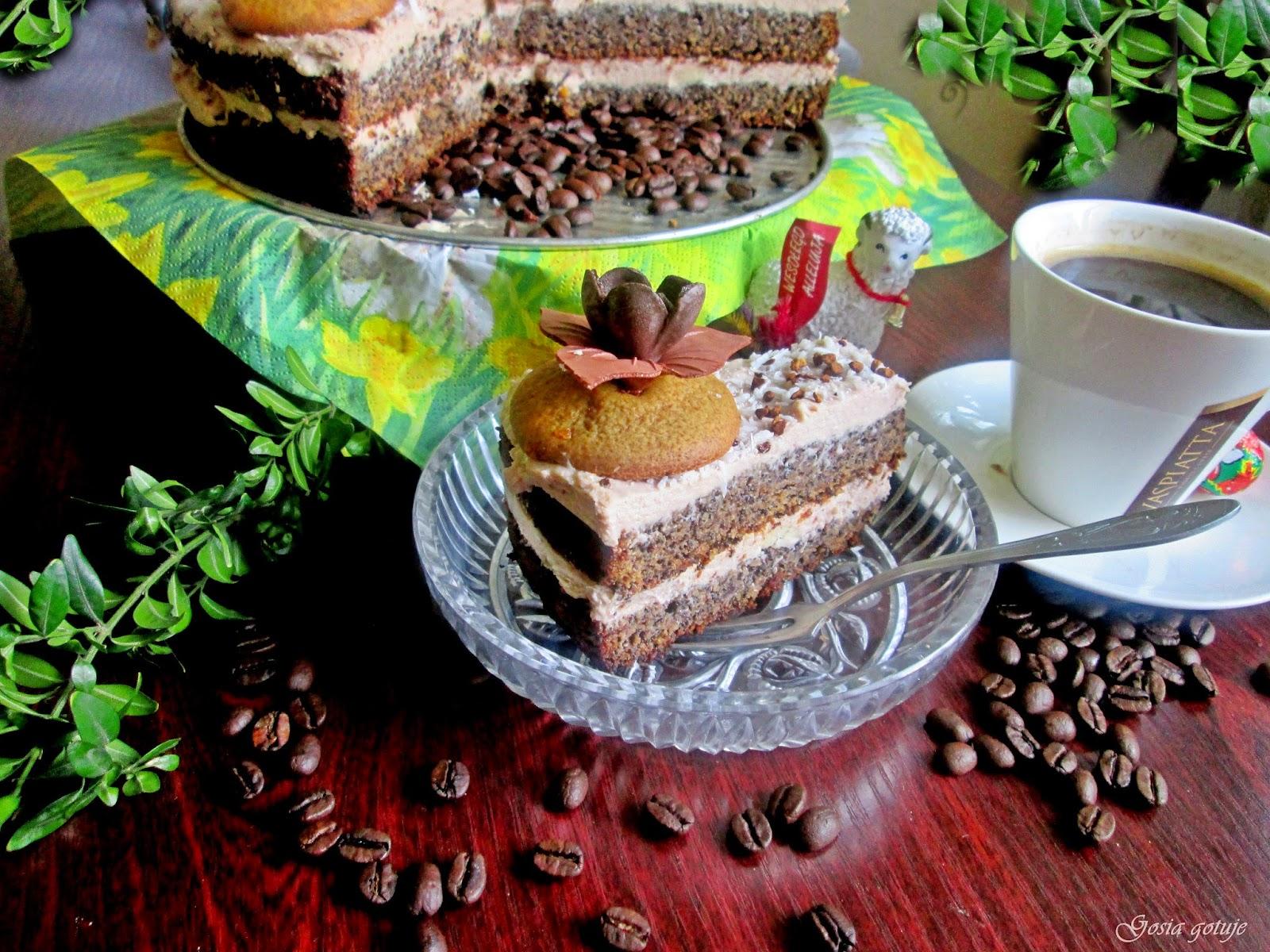 Tort makowy z masa kawową
