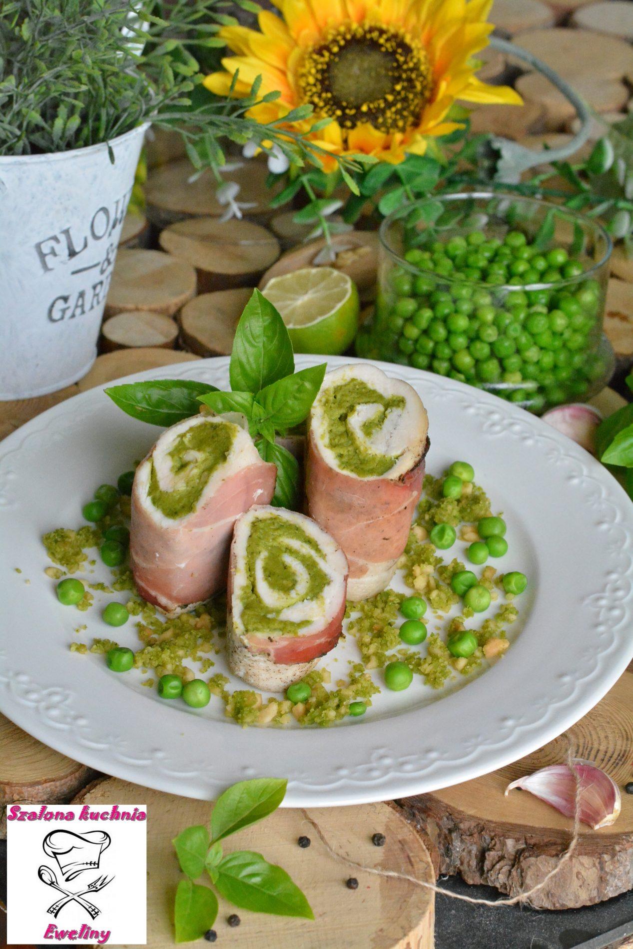 Roladki nadziewane pesto z zielonego groszku