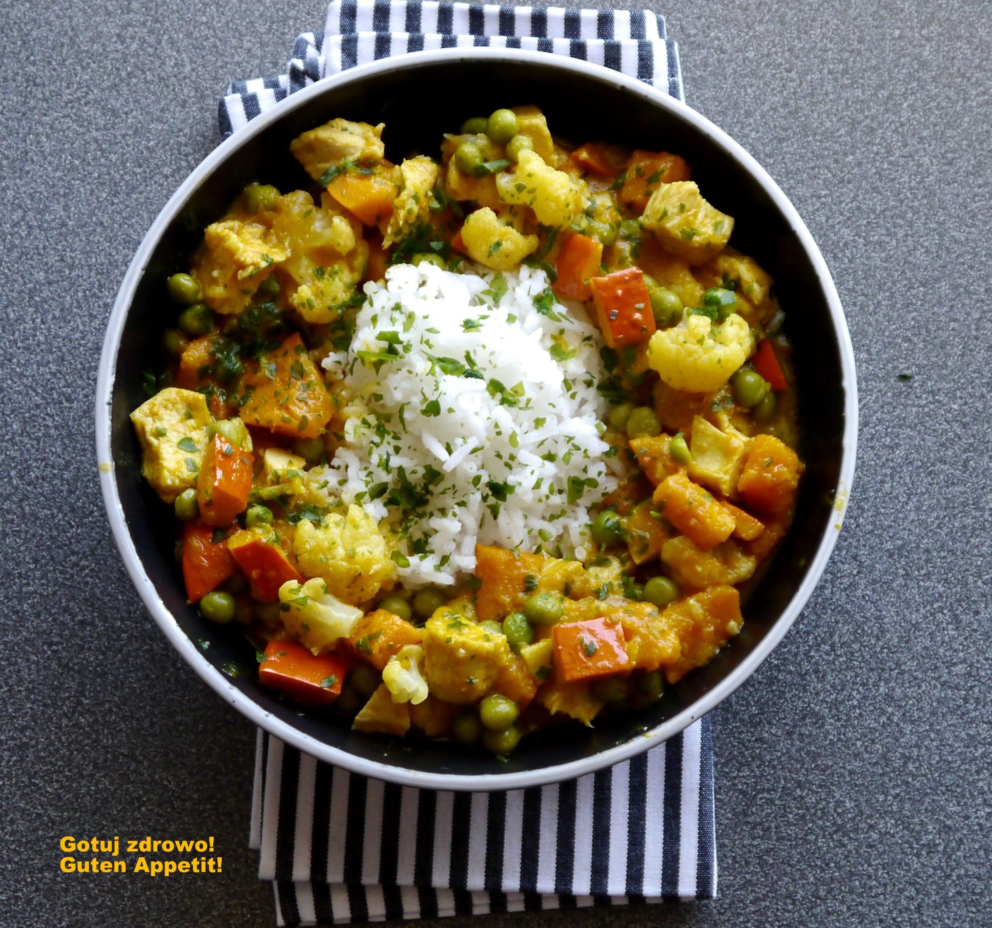 Curry z dynią, kalafiorem i kurczakiem