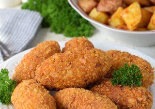 Chrupiące paluchy z kurczaka + pieczone ziemniaczki