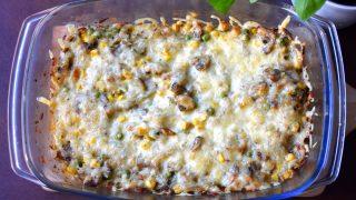 Zapiekanka ryżowa z pieczarkami, kukurydzą i groszkiem + FILM