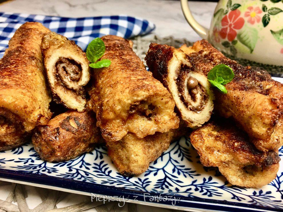 Cynamonowe roladki z chleba i nutelli
