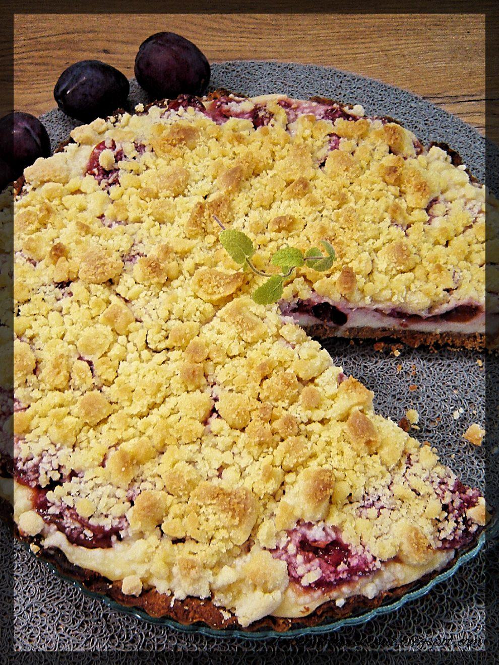 Tarta z serem i karmelizowanymi śliwkami