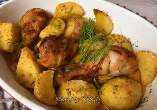 Zapiekane podudzia kurczaka z ziemniakami