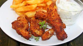 Frytki z kurczaka w prażonej cebulce