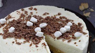 Serniczek z piankami marshmallow - bez pieczenia