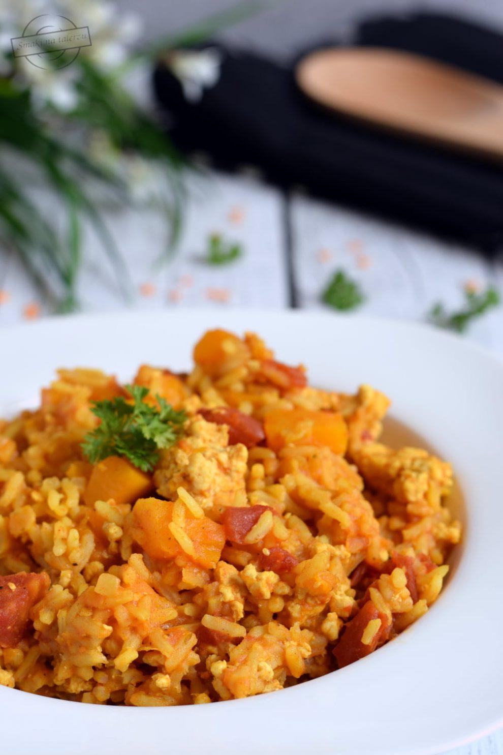Jednogarnkowe danie z ryżem, mięsem mielonym i dynią