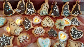 Kruche ciastka maślane na Halloween (duszki i pajęczyny)