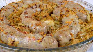 Biała kiełbasa w musztardzie i cebuli
