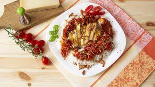 Kurczak duszony w pomidorach z ryżem
