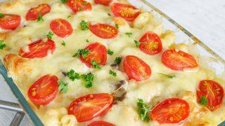 Zapiekanka z makaronem i pomidorkami