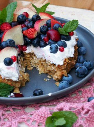 Ciasto Owsiane Z Kremem Kokosowym I Owocami